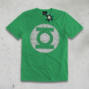 T-SHIRT DISTRESSED LOGO GREEN LANTERN
